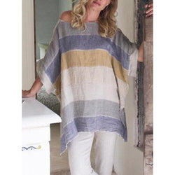 Vintage Crew Neck Half Sleeve Gradient Striped Asymmetrical Hem Tops