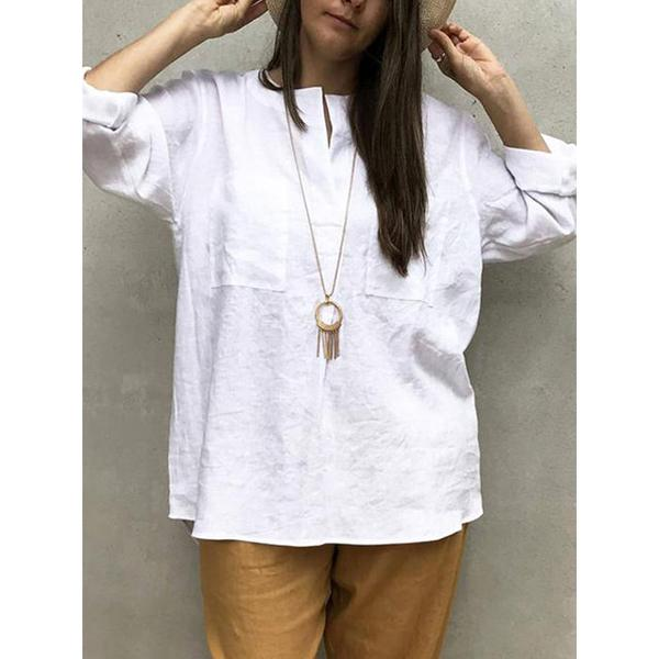 V Neck Solid Color Casual Blouse