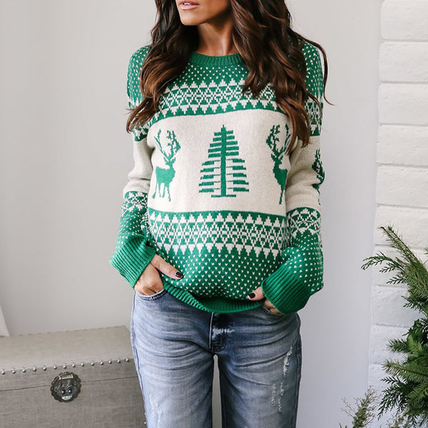 Patterns Reindeer Ugly Christmas Pullover Sweater