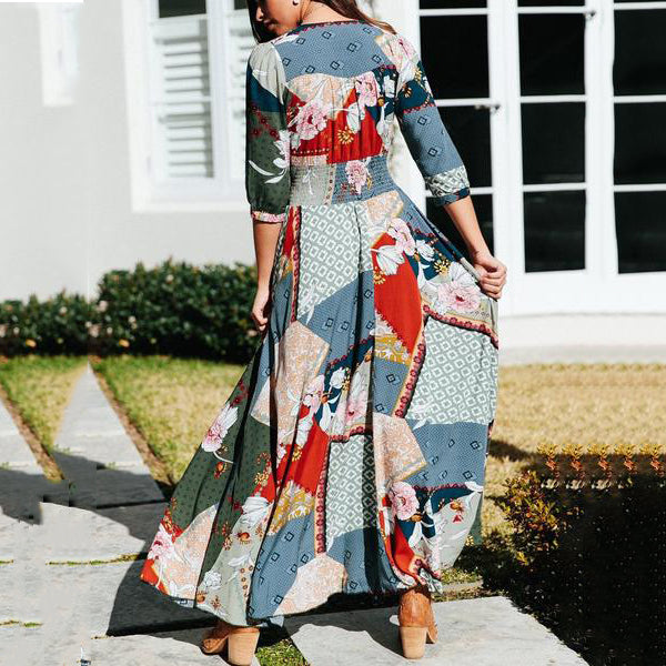 Elegant Printed V Neck Maxi Dress