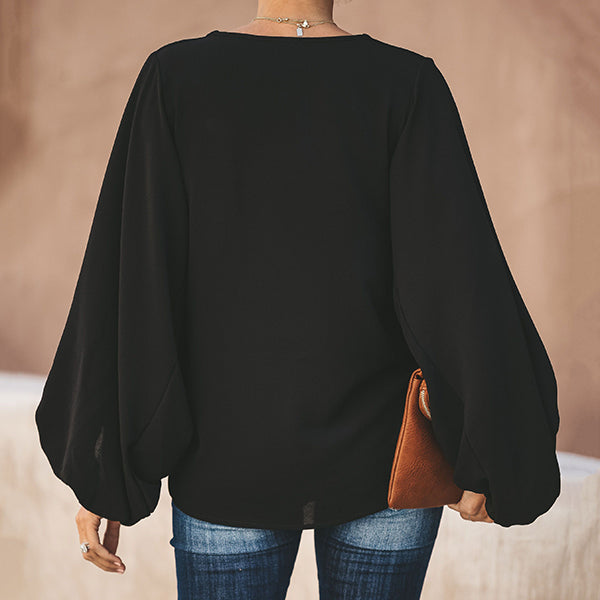 Solid Color Lantern Sleeve Blouse