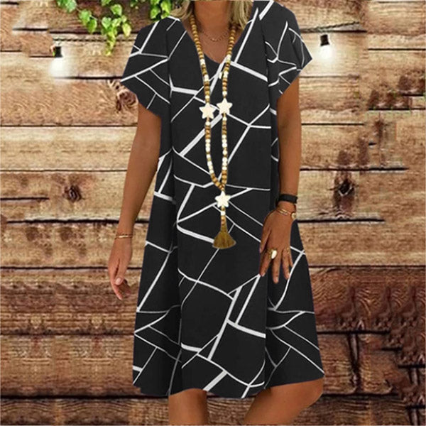 Fashion Printed V Neck Short Sleeve Dress