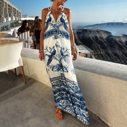 Vacation Vintage Printed Sleeveless Maxi Dress