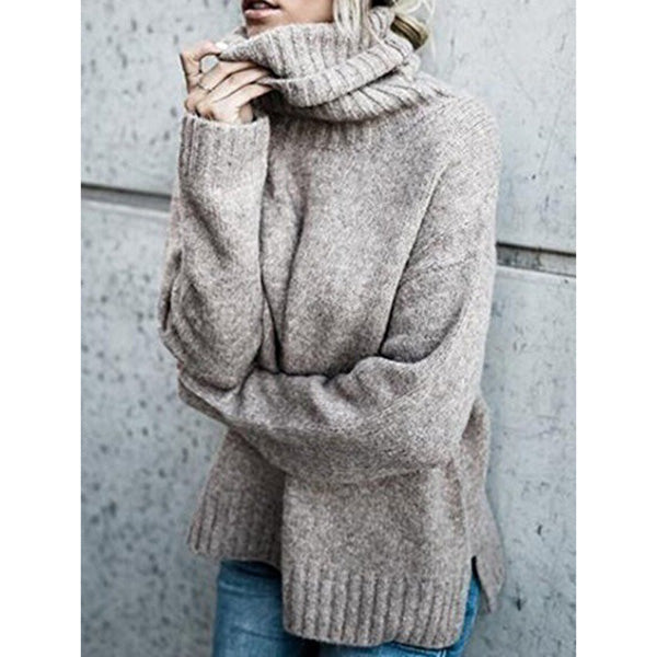 High Neck Solid Women Sweaters