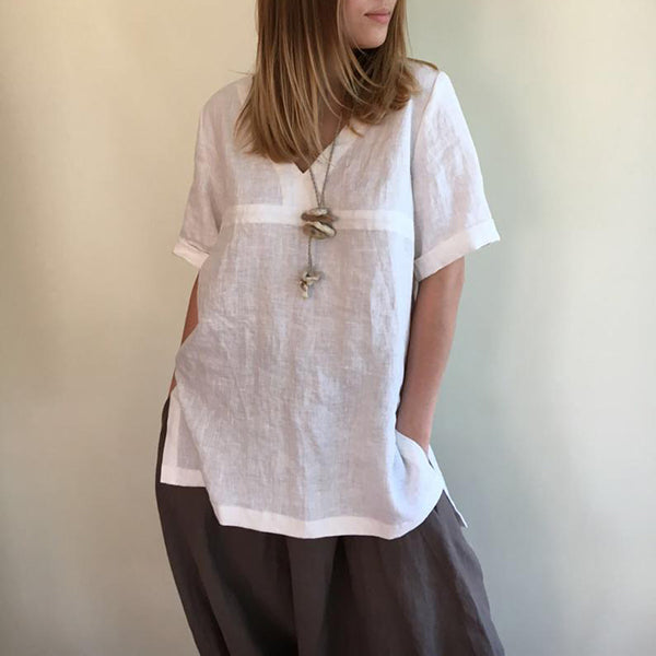 Comfortable V Neck Loose Blouse
