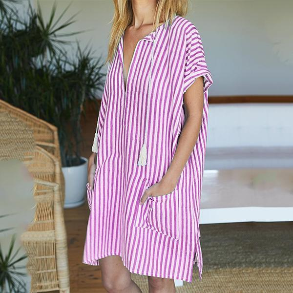 V Neck Women Holiday Gathered Dresses
