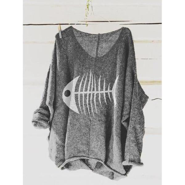 Printed Long Sleeve Animal V Neck Shirt