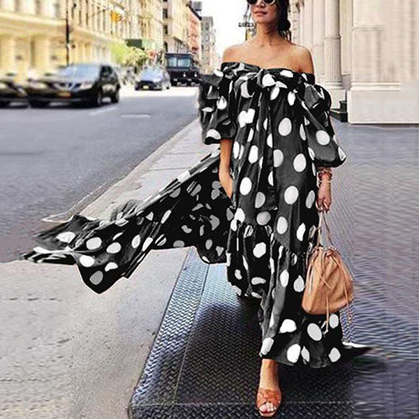 Elegant Polka Dot Off-The-Shoulder Vacation Dress