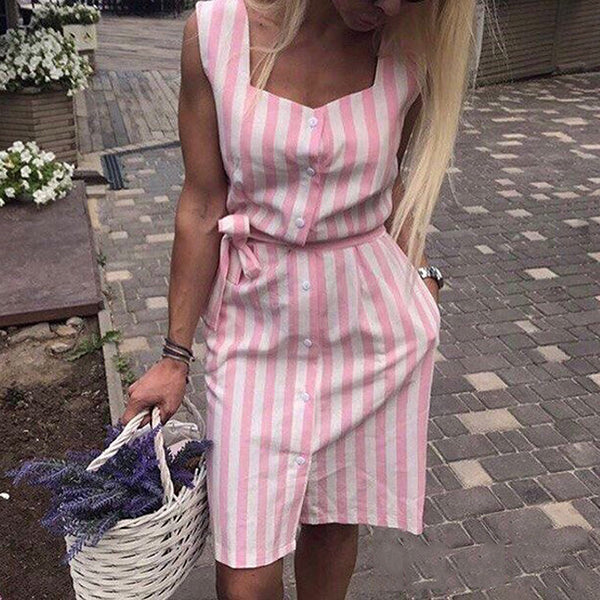 Stripe Sleeveless Front Split Dress