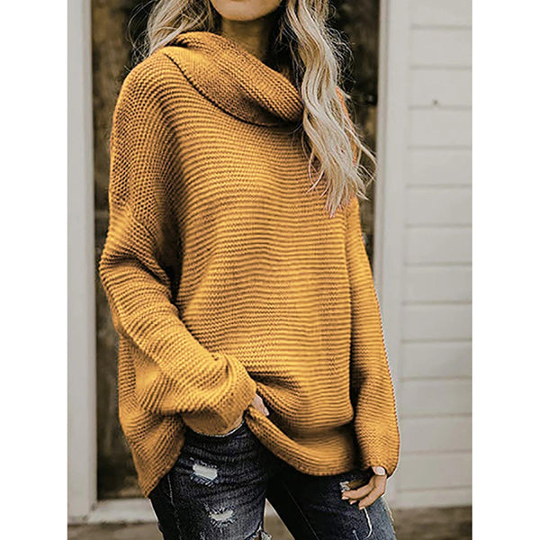 Plain Cowl Neck Loose Sweaters
