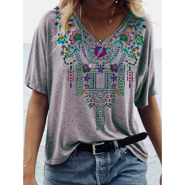 Women V-Neck Boho Summer Blouse