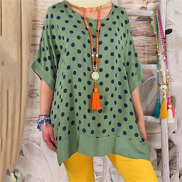 Daily Loose Wave Point Round Neck Blouse
