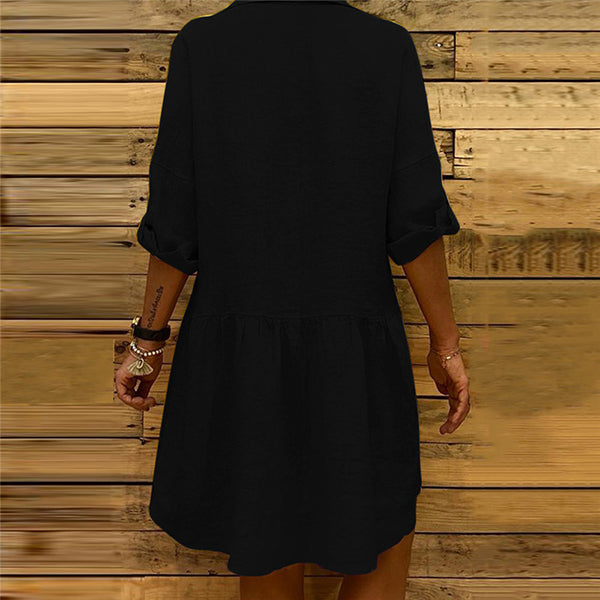 Casual Loose Button Pocket Dress