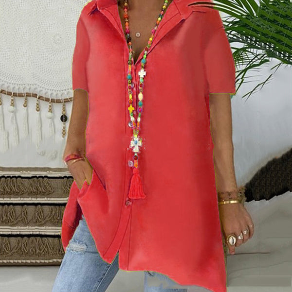 Plus size Short Sleeve Solid Color Blouse