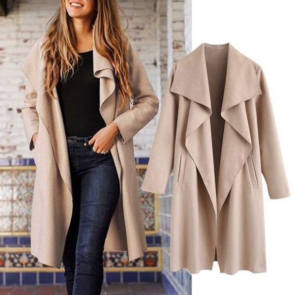 Ladies Turn-down Collar Solid Outerwear Coats