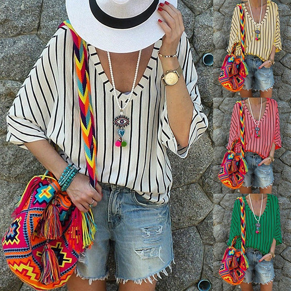 Plus Size Stripe V Neck Blouse