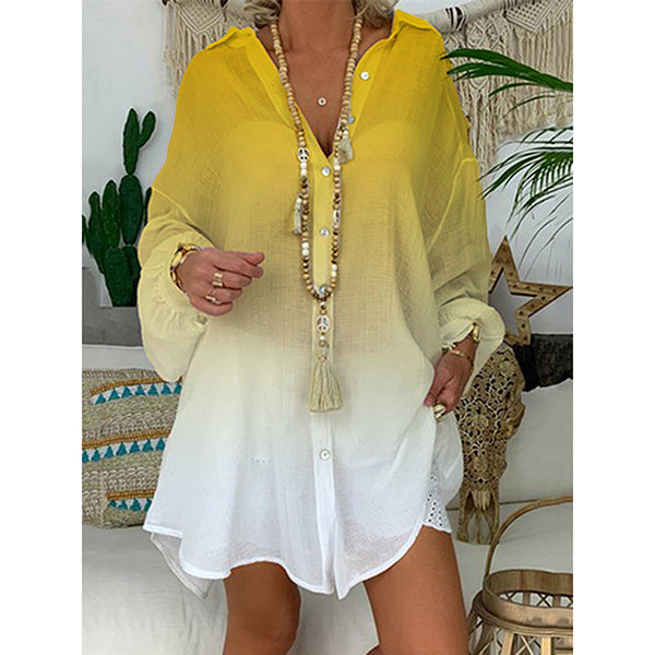 Women V-Neck Gradient Loose Blouses
