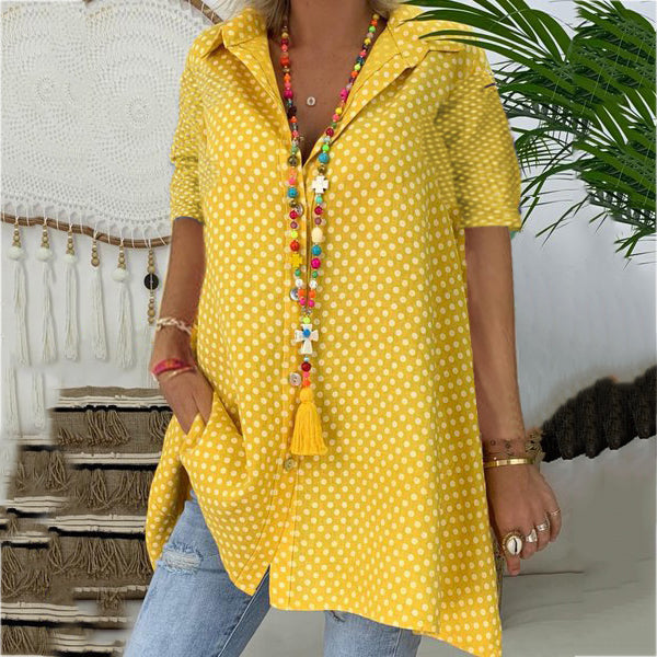 Summer Polka Dot Cotton Printed Plus Size Blouse