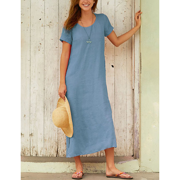 Round Neck Short Sleeve Summer Vacation Dresses