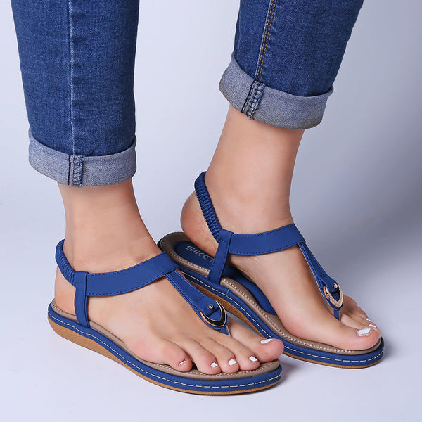 Comfortable Elastic Band Clip Toe Flat Beach Sandals