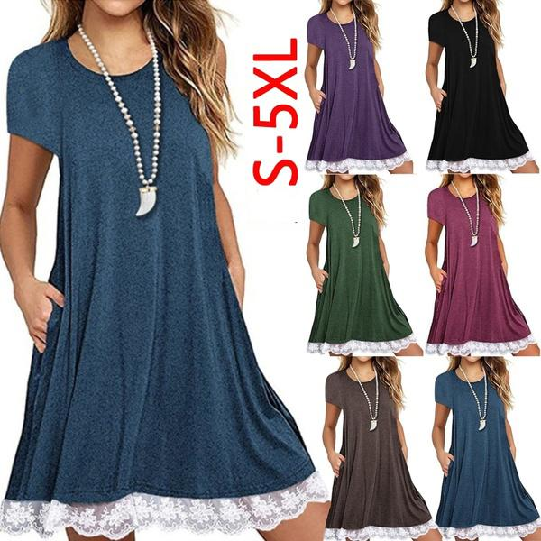Ladies Plus Size Lace Patchwork Pockets Loose Dress