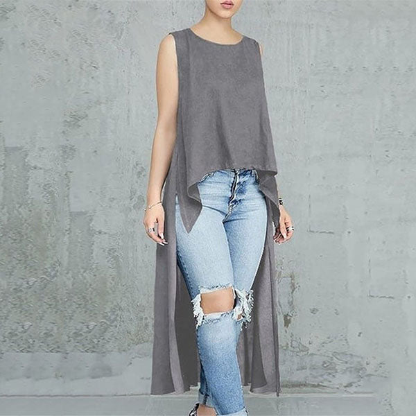 Fashion Loose Irregular Sleeveless Blouse
