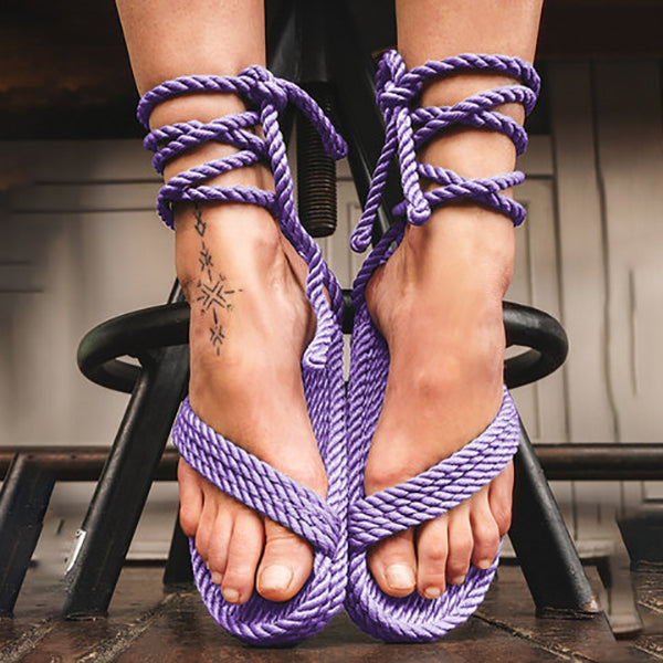 Solid Color Lace-Up Beach Flat Sandals