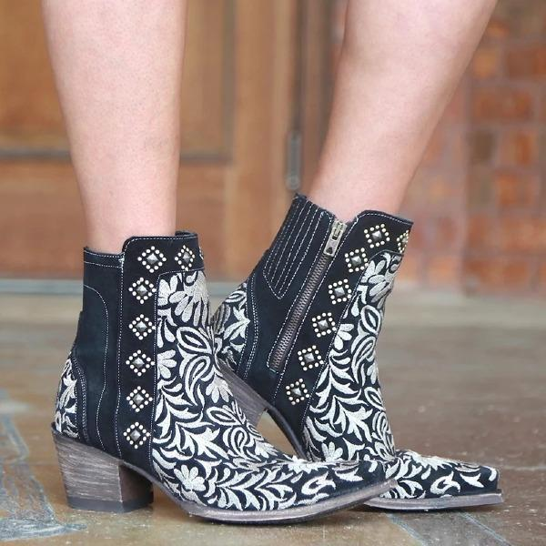 Women Winter Zipper Pointed Toe Ankle Boots