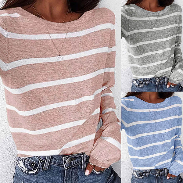 Autumn Striped Round Neck Long Sleeve T-Shirt