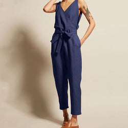 Solid Color Lace-Up V Neck Jumpsuits