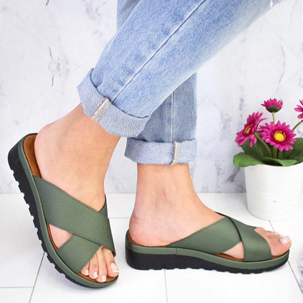 Solid Color Cross Strap Slippers