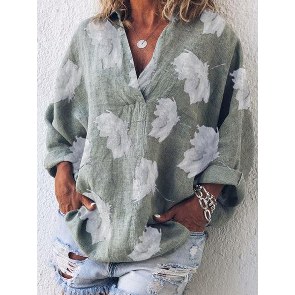 Cotton Linen Casual Long Sleeve Shirt Collar Floral-Print Shirts & Tops