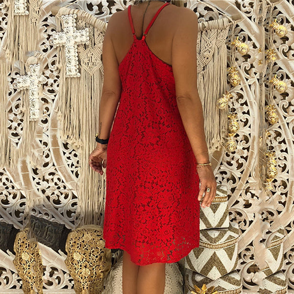 Sexy V Neck Lace Solid Color Dress