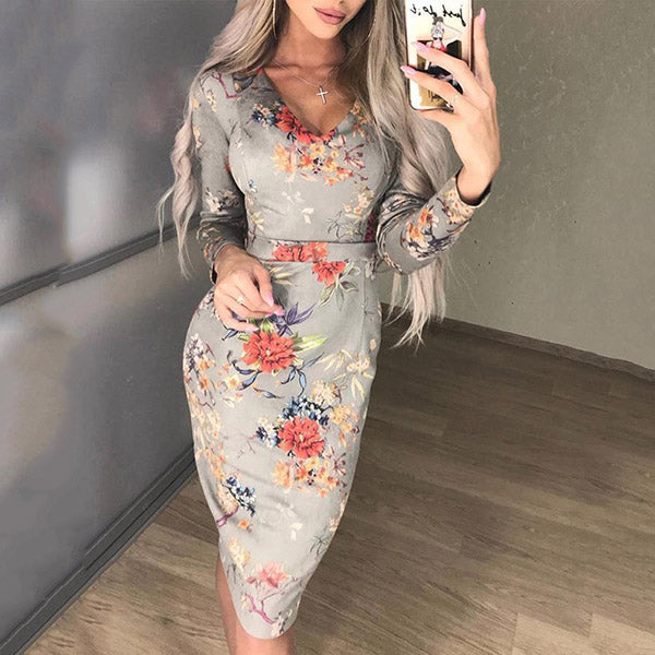 Elegant Flower Printed V Neck Dress