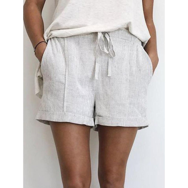 Casual Drawstring Pockets Shorts