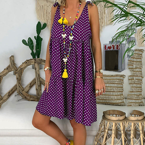 Plus Size Polka Dot Sleeveless Dress