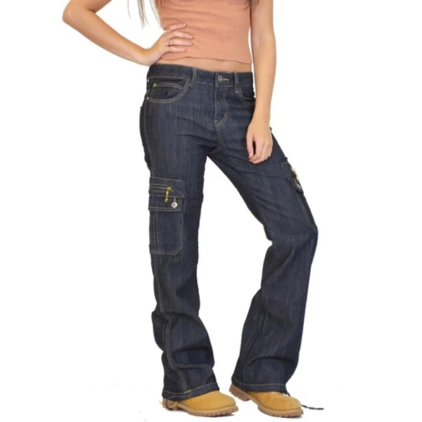 Wide Leg Denim Cargo Combat Jean Pants
