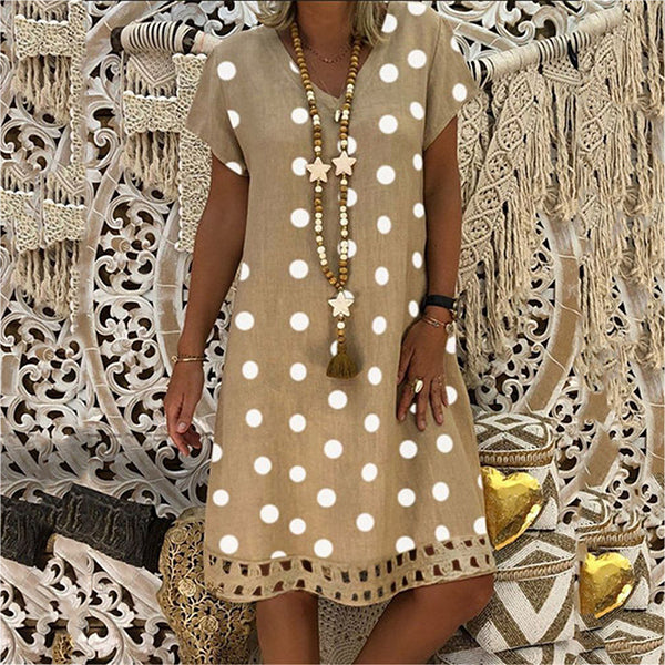 Short Sleeve V-neck Print Summer Dress