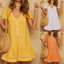 Plus Size V Neck Vacation Dress