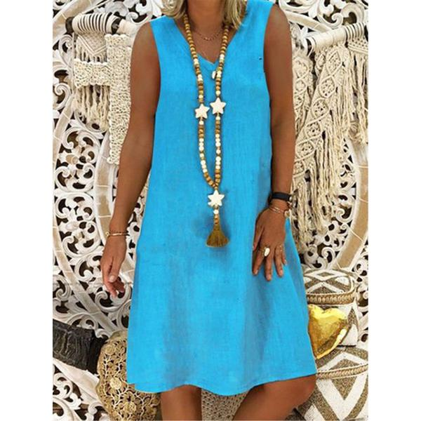 Casual Solid Color V-neck Sleeveless Dress