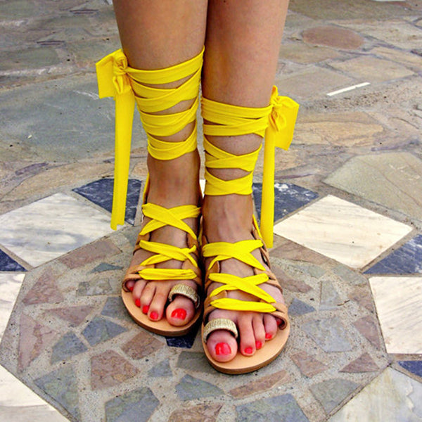 Sexy Vacation Lace-Up Flat Sandals