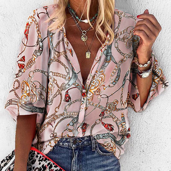 Ladies Casual Chain Print Buttoned Blouses