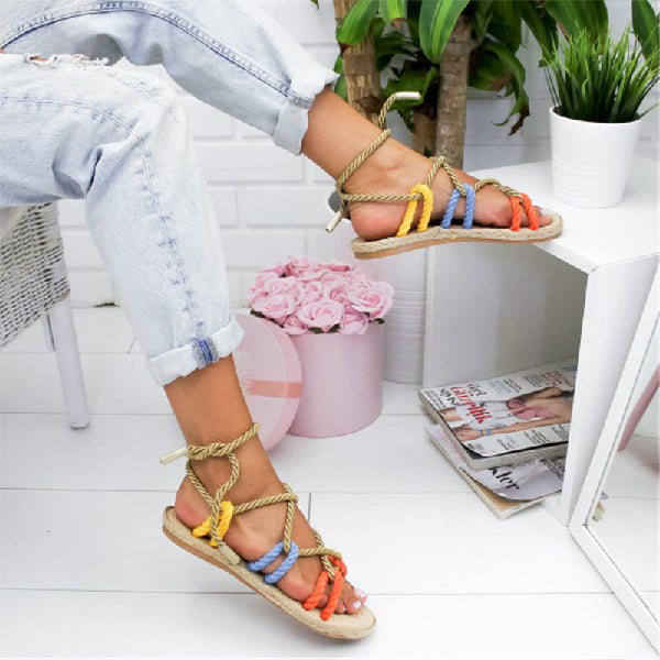 Roman Style  Flat Lace-Up Sandals