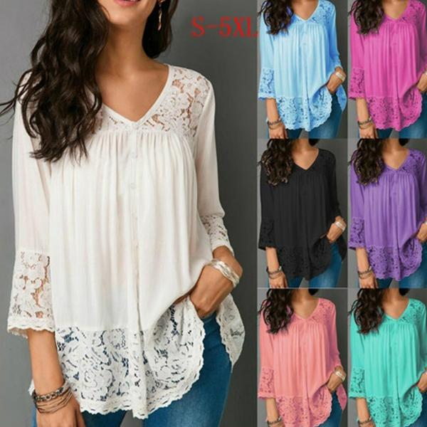 Women Fashion Solid Color Lace V Neck Loose  3/4 Sleeve Blouse