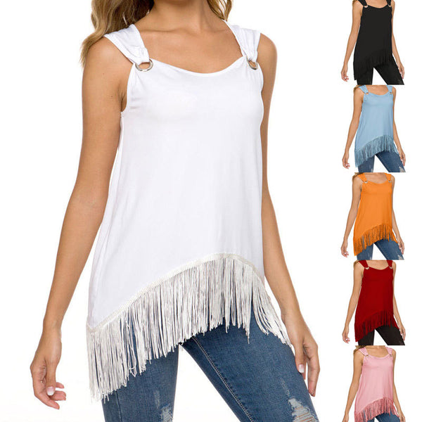 Casual Summer Sleeveless O-Neck Solid Tassel Blouse