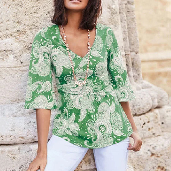 Bohemian 1/2 Sleeve V Neck Blouse