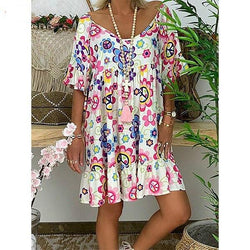 Summer Women Plus Size Round Neck Floral Printed Loose Dresses