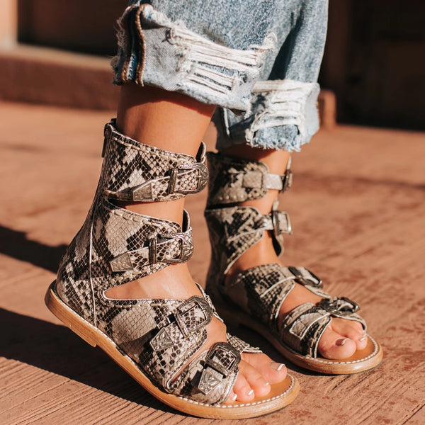 Summer Buckle Back Zipper Flat Sandals