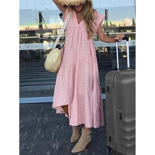 Elegant Solid Color V-Neck Irregular Dress