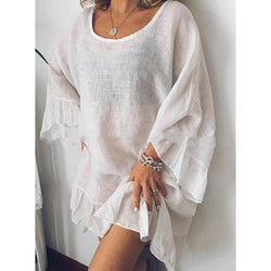 Solid Color Casual Stitching Ruffled Sleeves Loose Dress